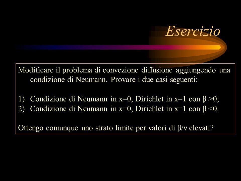 Esercizio Modificare il problema di convezione diffusione aggiungendo una condizione di Neumann. Provare i due casi seguenti: 1)Condizione di Neumann