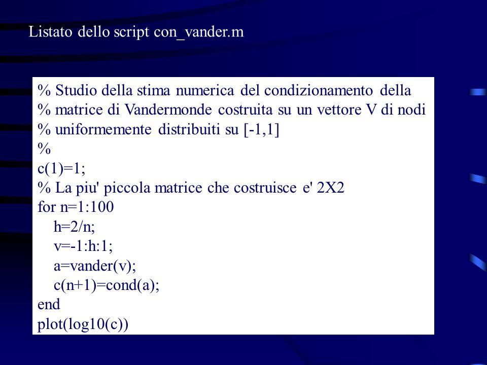 % Studio della stima numerica del condizionamento della % matrice di Vandermonde costruita su un vettore V di nodi % uniformemente distribuiti su [-1,