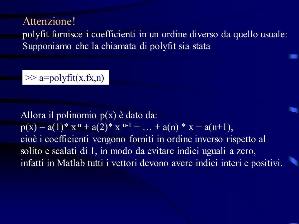 Attenzione! polyfit fornisce i coefficienti in un ordine diverso da quello usuale: Supponiamo che la chiamata di polyfit sia stata >> a=polyfit(x,fx,n
