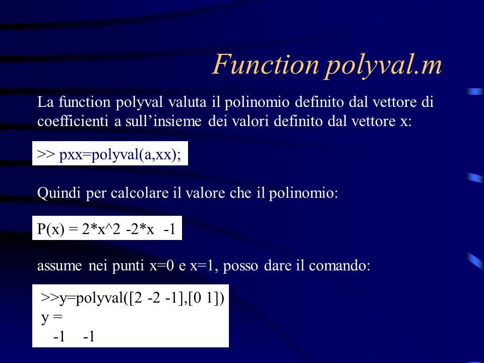 Function polyval.m La function polyval valuta il polinomio definito dal vettore di coefficienti a sullinsieme dei valori definito dal vettore x: >> px