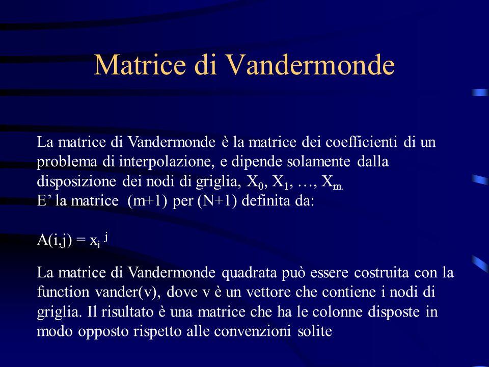 Matrice di Vandermonde La matrice di Vandermonde è la matrice dei coefficienti di un problema di interpolazione, e dipende solamente dalla disposizion