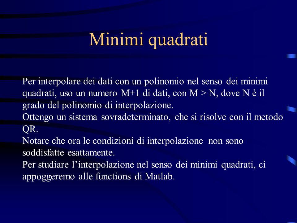 Minimi quadrati Per interpolare dei dati con un polinomio nel senso dei minimi quadrati, uso un numero M+1 di dati, con M > N, dove N è il grado del p