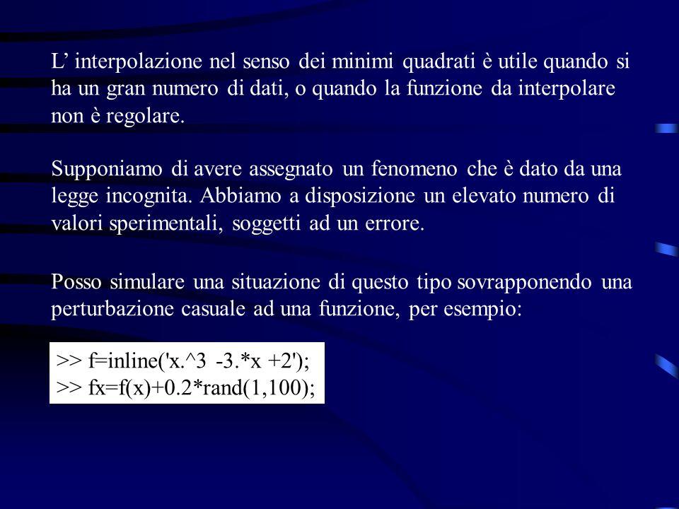 L interpolazione nel senso dei minimi quadrati è utile quando si ha un gran numero di dati, o quando la funzione da interpolare non è regolare. Suppon