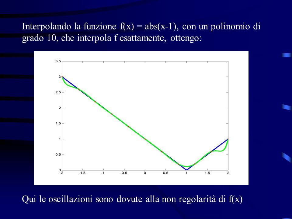 Interpolando la funzione f(x) = abs(x-1), con un polinomio di grado 10, che interpola f esattamente, ottengo: Qui le oscillazioni sono dovute alla non