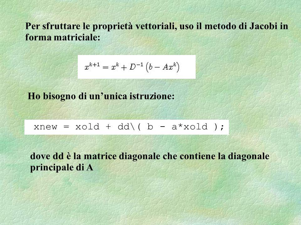 Per sfruttare le proprietà vettoriali, uso il metodo di Jacobi in forma matriciale: Ho bisogno di ununica istruzione: xnew = xold + dd\( b - a*xold ); dove dd è la matrice diagonale che contiene la diagonale principale di A