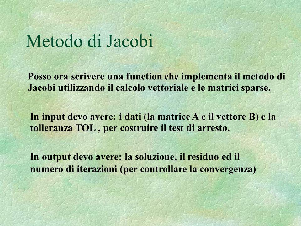 Metodo di Jacobi Posso ora scrivere una function che implementa il metodo di Jacobi utilizzando il calcolo vettoriale e le matrici sparse. In input de