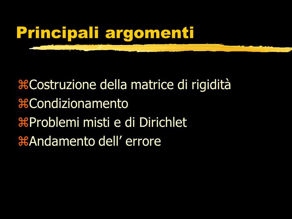 Principali argomenti Costruzione della matrice di rigidità Condizionamento Problemi misti e di Dirichlet Andamento dell errore