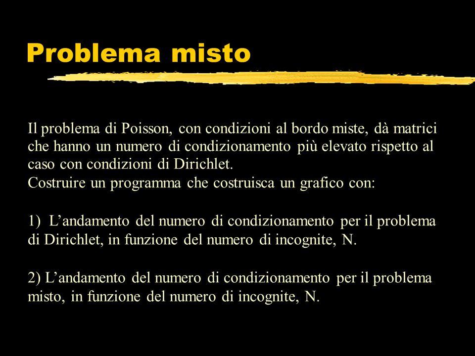 Problema misto Il problema di Poisson, con condizioni al bordo miste, dà matrici che hanno un numero di condizionamento più elevato rispetto al caso c