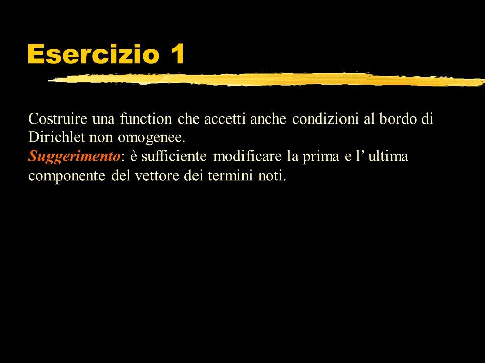 Esercizio 1 Costruire una function che accetti anche condizioni al bordo di Dirichlet non omogenee. Suggerimento: è sufficiente modificare la prima e