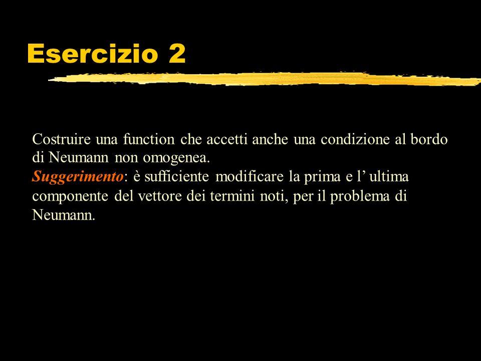 Esercizio 2 Costruire una function che accetti anche una condizione al bordo di Neumann non omogenea. Suggerimento: è sufficiente modificare la prima