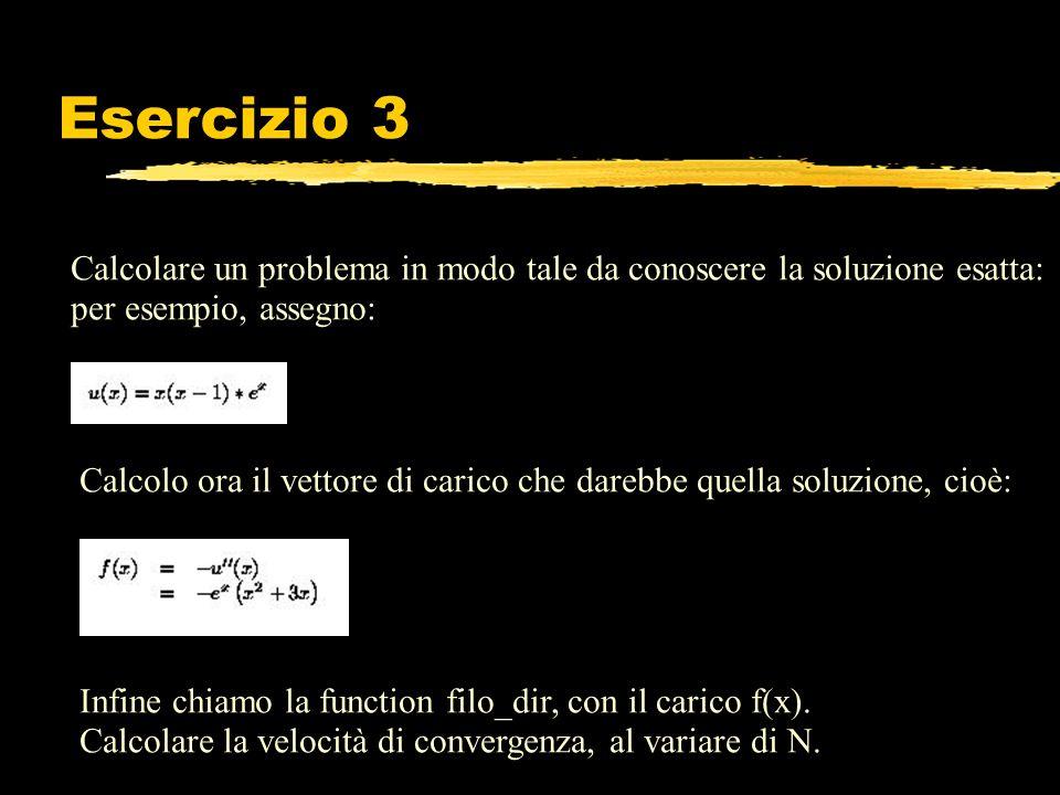 Esercizio 3 Calcolare un problema in modo tale da conoscere la soluzione esatta: per esempio, assegno: Calcolo ora il vettore di carico che darebbe qu