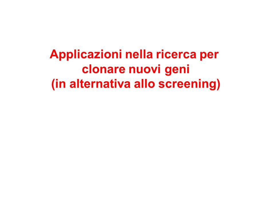 Applicazioni nella ricerca per clonare nuovi geni (in alternativa allo screening)