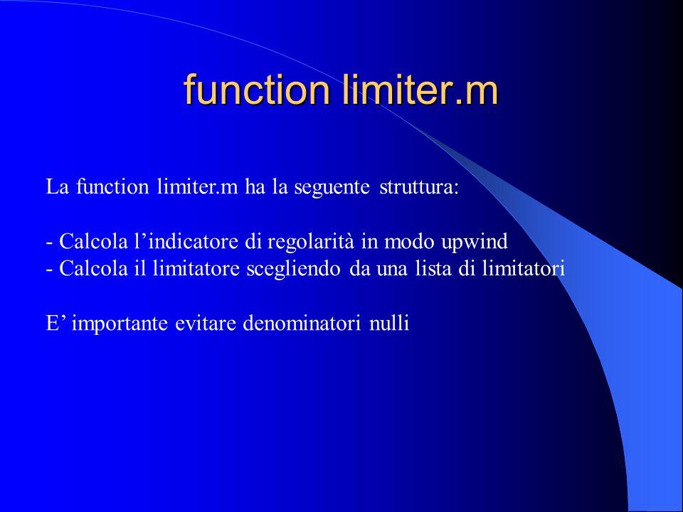 function limiter.m La function limiter.m ha la seguente struttura: - Calcola lindicatore di regolarità in modo upwind - Calcola il limitatore sceglien