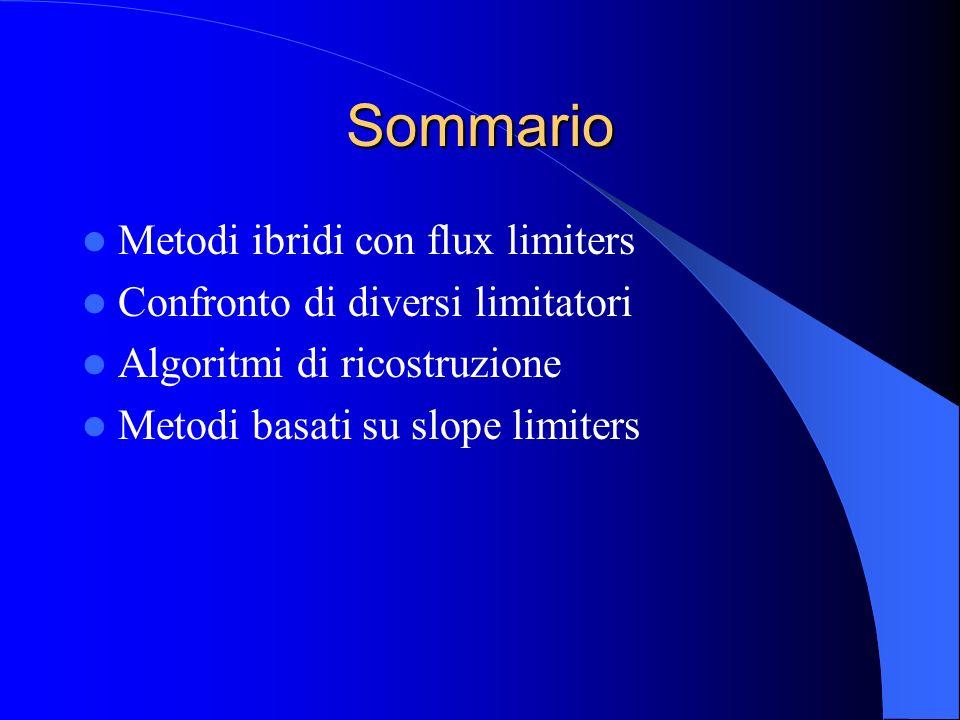 Sommario Metodi ibridi con flux limiters Confronto di diversi limitatori Algoritmi di ricostruzione Metodi basati su slope limiters