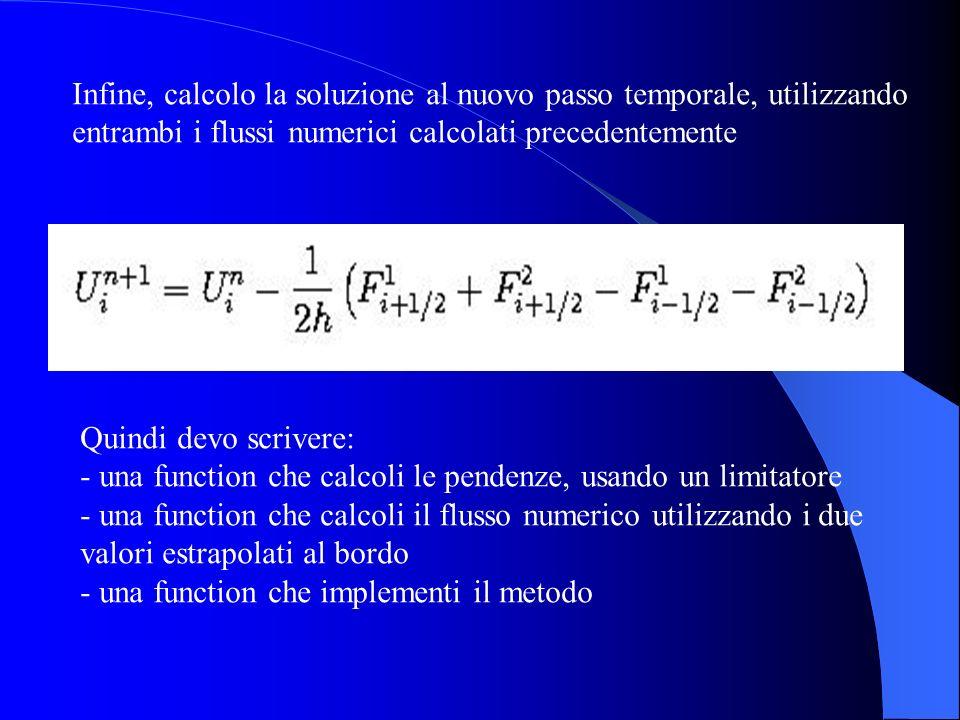 Infine, calcolo la soluzione al nuovo passo temporale, utilizzando entrambi i flussi numerici calcolati precedentemente Quindi devo scrivere: - una fu