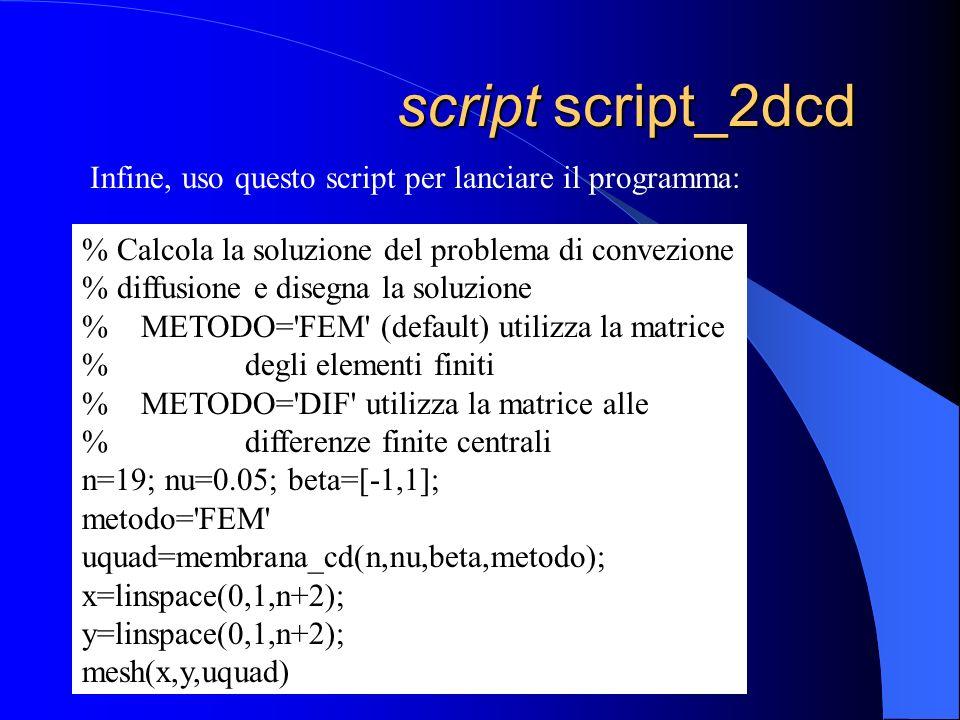 script script_2dcd script script_2dcd Infine, uso questo script per lanciare il programma: % Calcola la soluzione del problema di convezione % diffusi