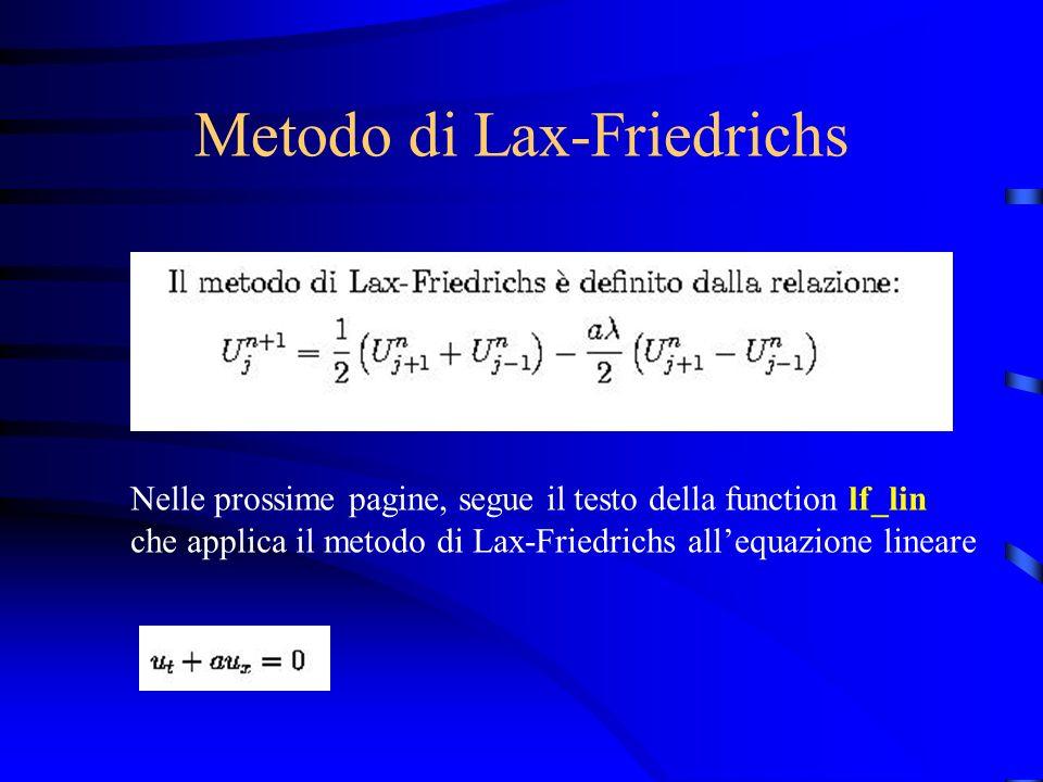 Metodo di Lax-Friedrichs Nelle prossime pagine, segue il testo della function lf_lin che applica il metodo di Lax-Friedrichs allequazione lineare