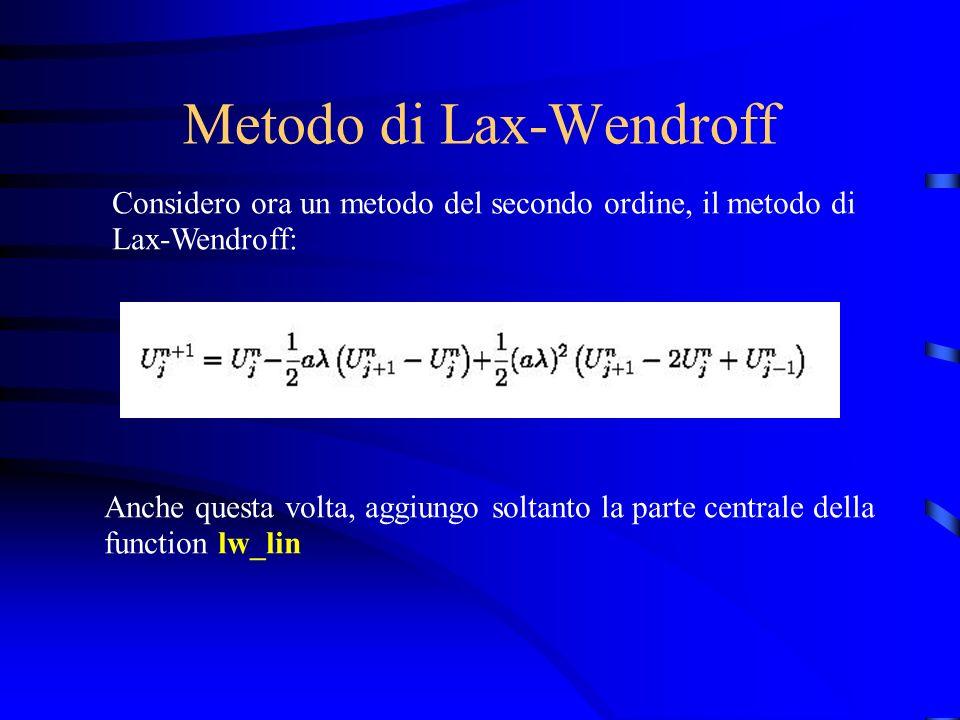 Metodo di Lax-Wendroff Considero ora un metodo del secondo ordine, il metodo di Lax-Wendroff: Anche questa volta, aggiungo soltanto la parte centrale della function lw_lin