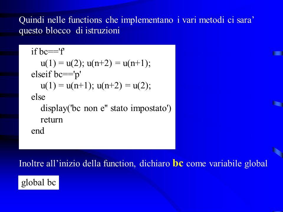 Quindi nelle functions che implementano i vari metodi ci sara questo blocco di istruzioni if bc== f u(1) = u(2); u(n+2) = u(n+1); elseif bc== p u(1) = u(n+1); u(n+2) = u(2); else display( bc non e stato impostato ) return end Inoltre allinizio della function, dichiaro bc come variabile global global bc