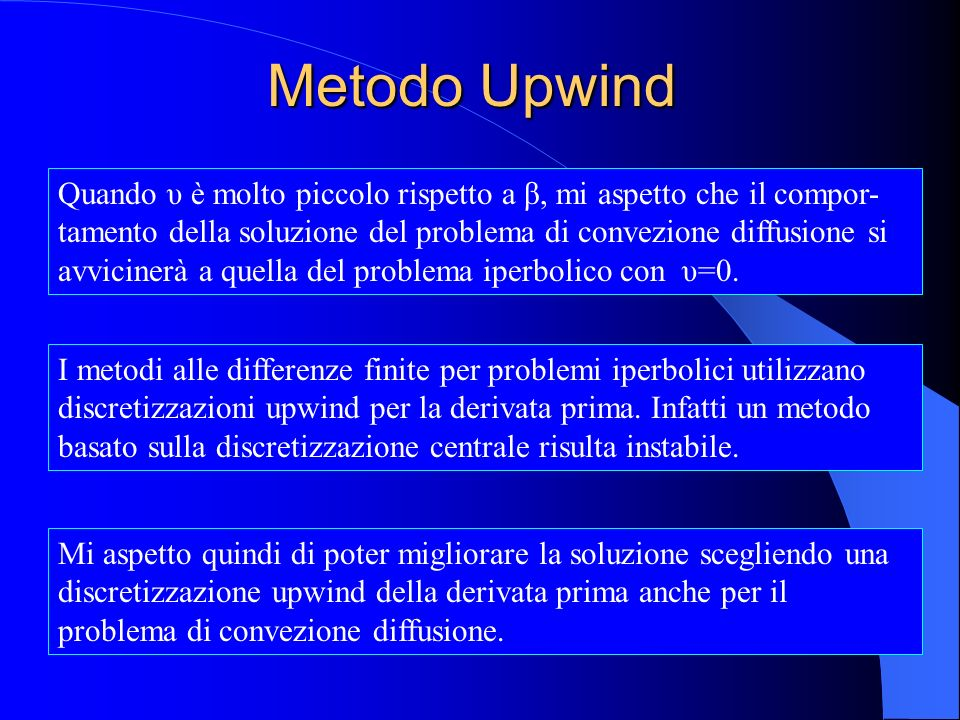 Metodo Upwind Quando υ è molto piccolo rispetto a β, mi aspetto che il compor- tamento della soluzione del problema di convezione diffusione si avvici