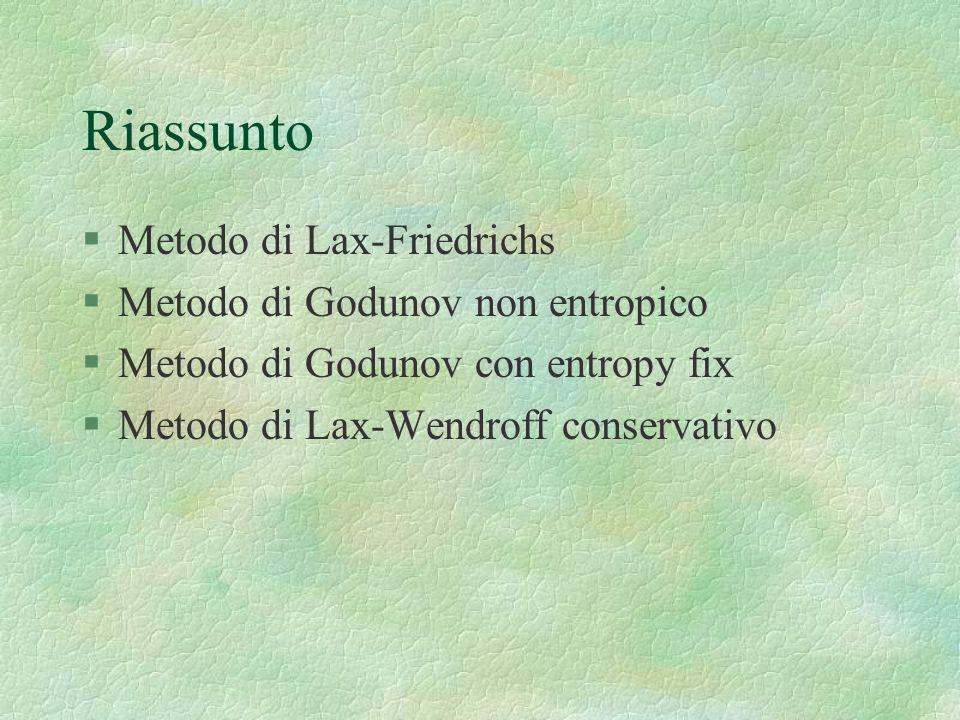 Riassunto §Metodo di Lax-Friedrichs §Metodo di Godunov non entropico §Metodo di Godunov con entropy fix §Metodo di Lax-Wendroff conservativo
