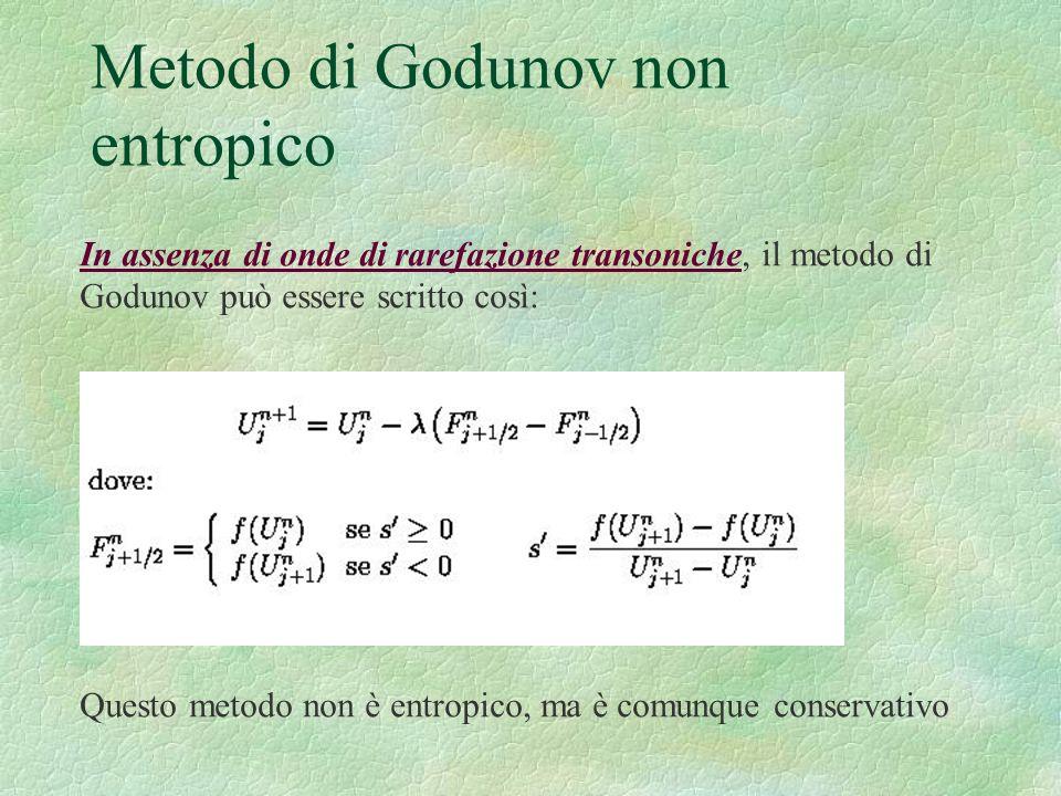 Metodo di Godunov non entropico In assenza di onde di rarefazione transoniche, il metodo di Godunov può essere scritto così: Questo metodo non è entro