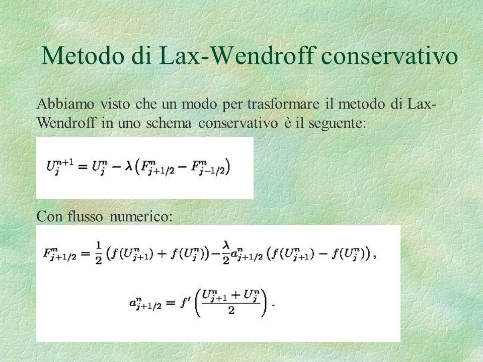 Metodo di Lax-Wendroff conservativo Abbiamo visto che un modo per trasformare il metodo di Lax- Wendroff in uno schema conservativo è il seguente: Con