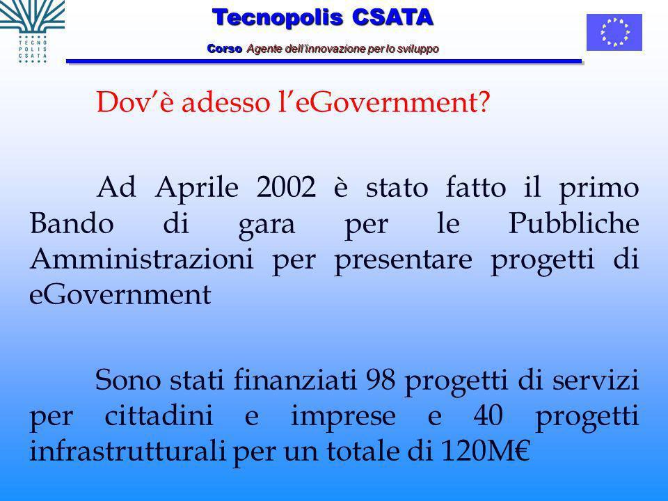 Tecnopolis CSATA Corso Agente dellinnovazione per lo sviluppo Dovè adesso leGovernment.