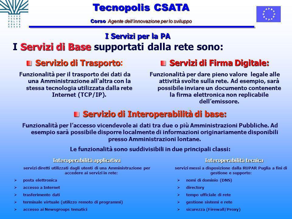 Tecnopolis CSATA Corso Agente dellinnovazione per lo sviluppo I Servizi per la PA Servizi di Base I Servizi di Base supportati dalla rete sono: Servizio di Trasporto Servizio di Trasporto: Funzionalità per il trasporto dei dati da una Amministrazione all altra con la stessa tecnologia utilizzata dalla rete Internet (TCP/IP).