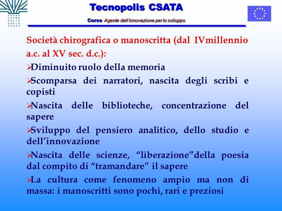 Tecnopolis CSATA Corso Agente dellinnovazione per lo sviluppo Società chirografica o manoscritta (dal IVmillennio a.c.