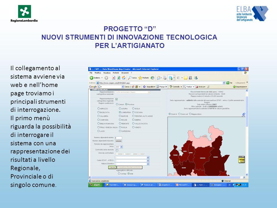 Il collegamento al sistema avviene via web e nellhome page troviamo i principali strumenti di interrogazione.