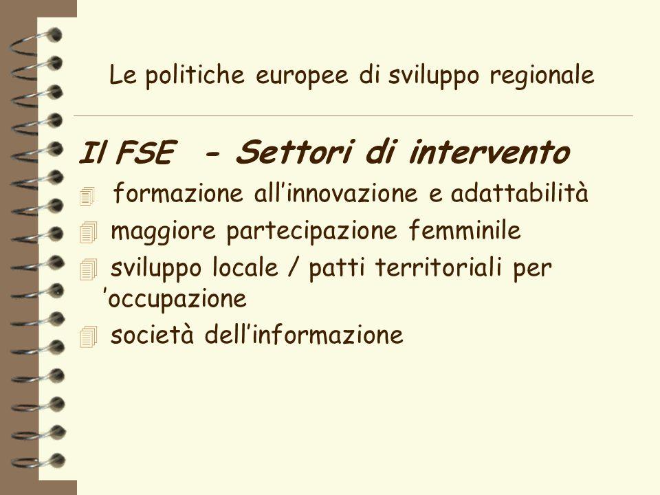 Le politiche europee di sviluppo regionale Il FSE - Settori di intervento 4 formazione allinnovazione e adattabilità 4 maggiore partecipazione femminile 4 sviluppo locale / patti territoriali per occupazione 4 società dellinformazione