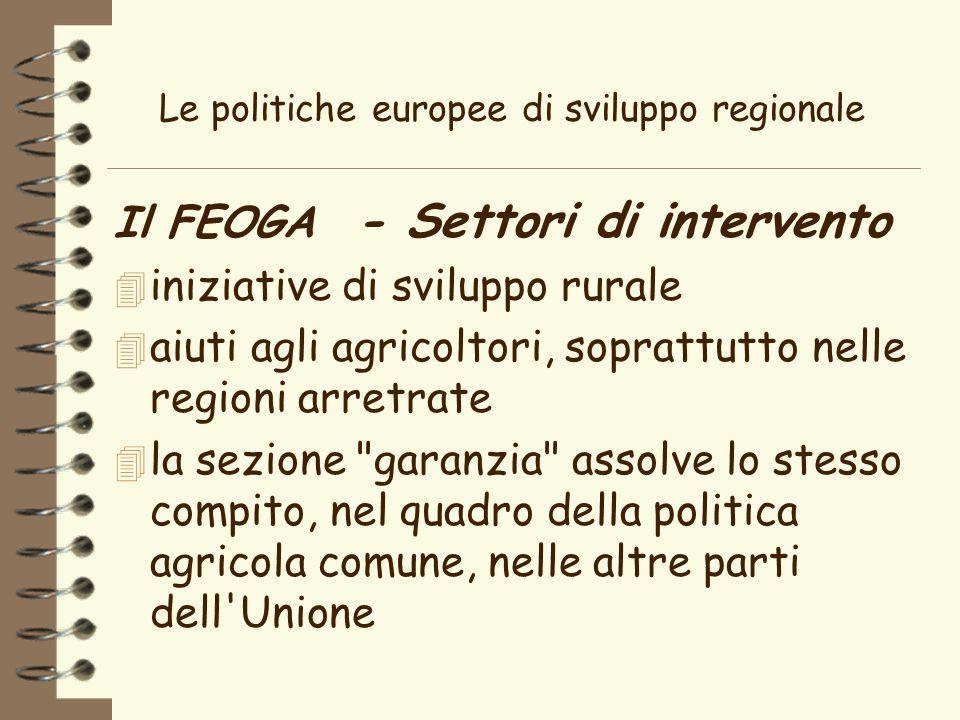 Le politiche europee di sviluppo regionale Il FEOGA - Settori di intervento 4 iniziative di sviluppo rurale 4 aiuti agli agricoltori, soprattutto nelle regioni arretrate 4 la sezione garanzia assolve lo stesso compito, nel quadro della politica agricola comune, nelle altre parti dell Unione