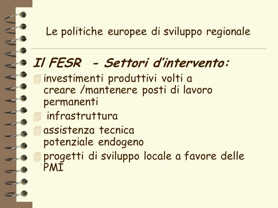 Le politiche europee di sviluppo regionale Il FESR - Settori dintervento: 4 investimenti produttivi volti a creare /mantenere posti di lavoro permanenti 4 infrastruttura 4 assistenza tecnica potenziale endogeno 4 progetti di sviluppo locale a favore delle PMI