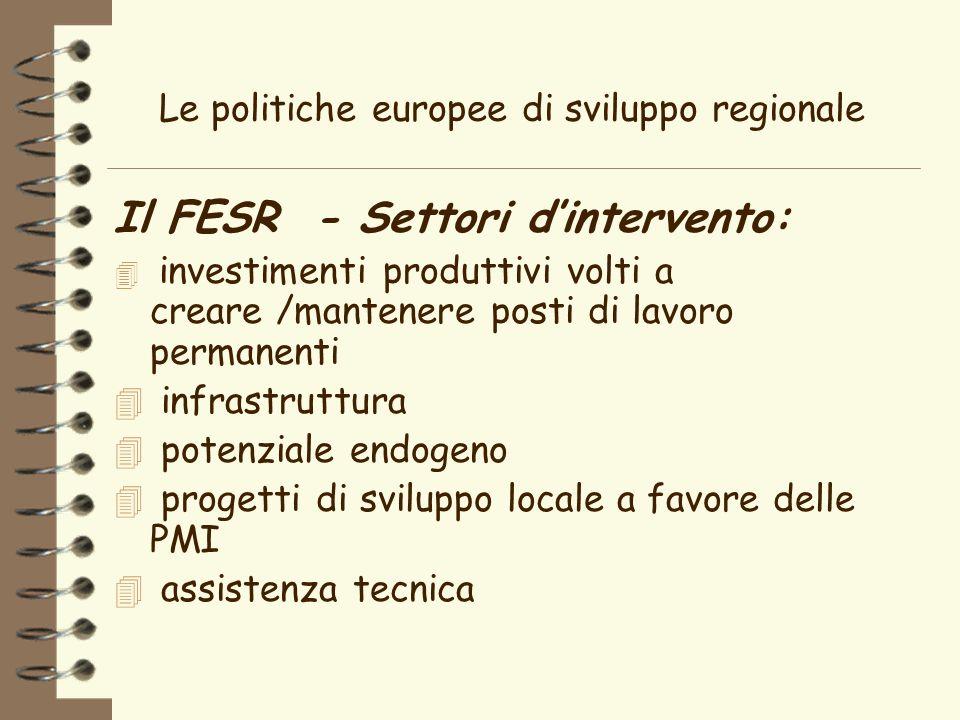 Le politiche europee di sviluppo regionale Il FESR - Settori dintervento: 4 investimenti produttivi volti a creare /mantenere posti di lavoro permanenti 4 infrastruttura 4 potenziale endogeno 4 progetti di sviluppo locale a favore delle PMI 4 assistenza tecnica