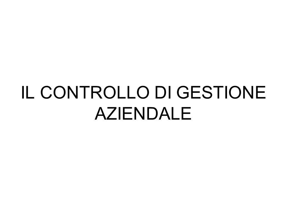 IL CONTROLLO DI GESTIONE E UN PROCESSO DIREZIONALE FINALIZZATO AL MONITORAGGIO DELLANDAMENTO DELLA GESTIONE AZIENDALE