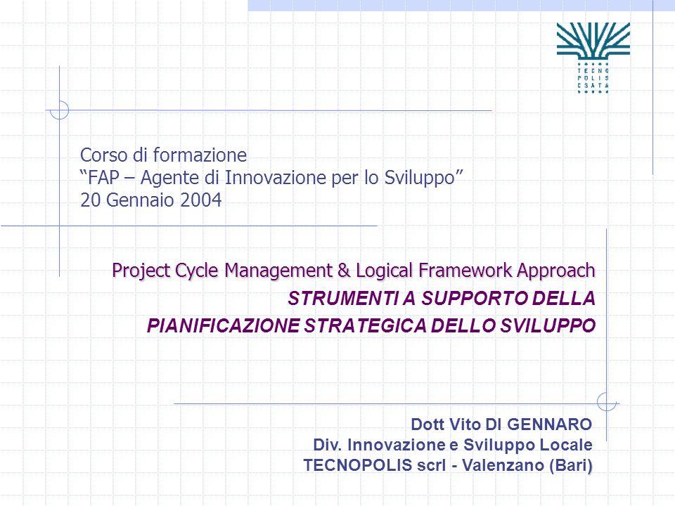 Corso di formazione FAP – Agente di Innovazione per lo Sviluppo 20 Gennaio 2004 Project Cycle Management & Logical Framework Approach STRUMENTI A SUPP