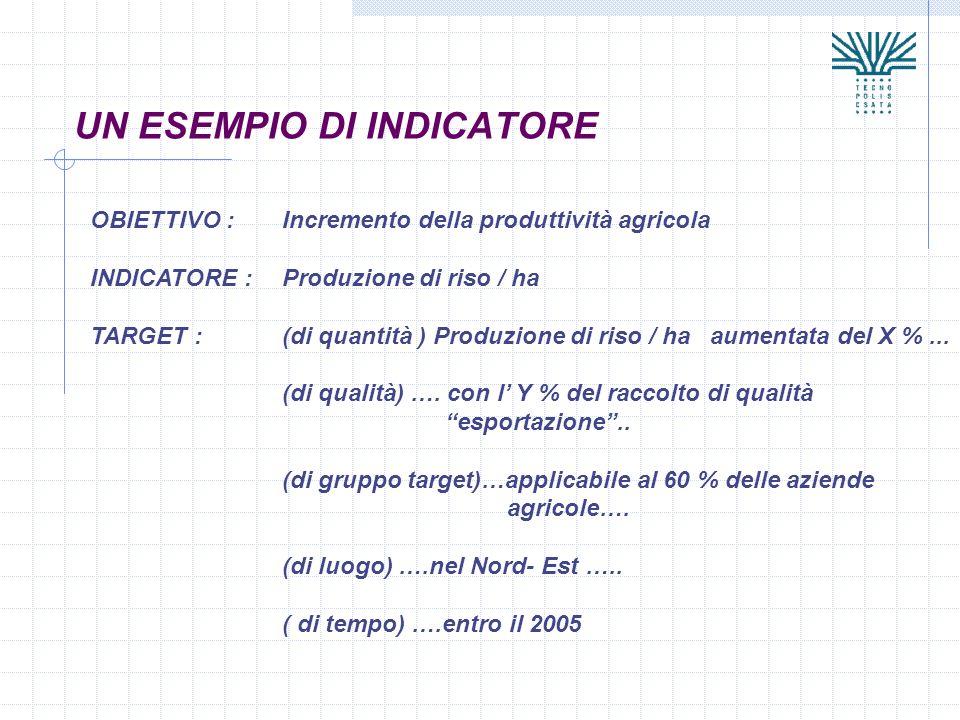 UN ESEMPIO DI INDICATORE OBIETTIVO : Incremento della produttività agricola INDICATORE : Produzione di riso / ha TARGET : (di quantità ) Produzione di