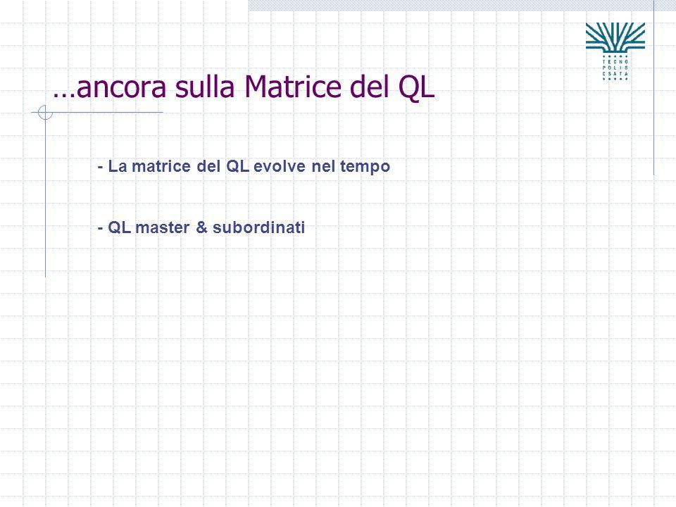 …ancora sulla Matrice del QL - La matrice del QL evolve nel tempo - QL master & subordinati