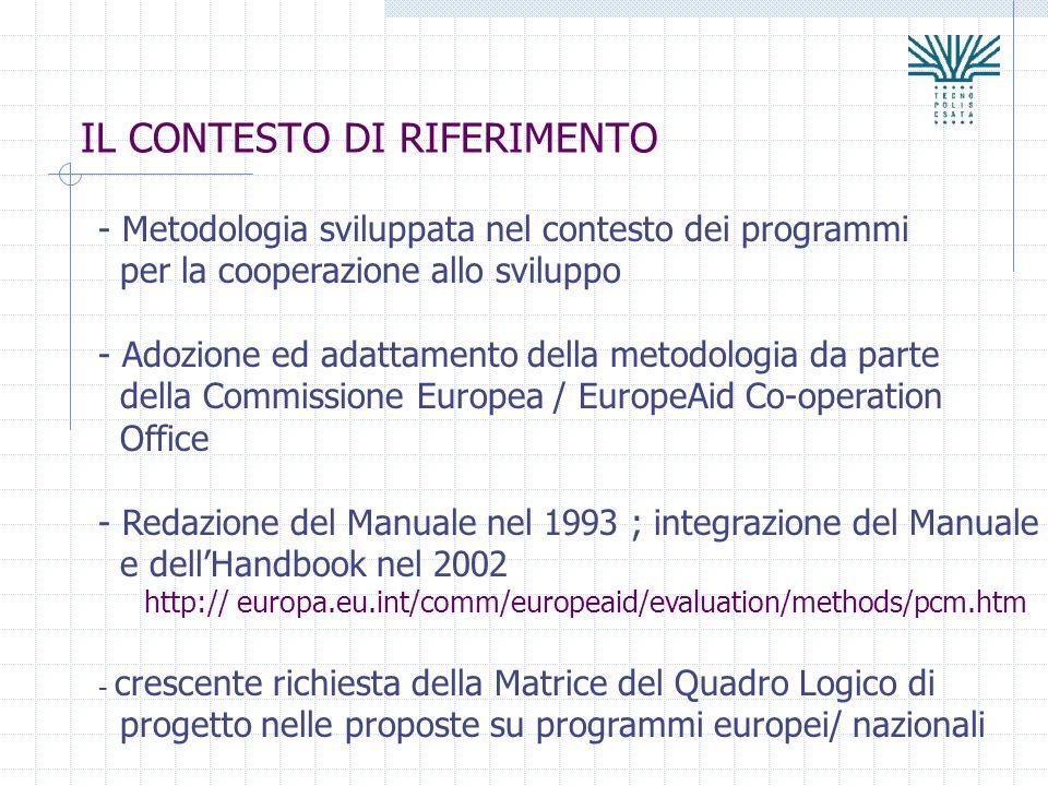 IL CONTESTO DI RIFERIMENTO - Metodologia sviluppata nel contesto dei programmi per la cooperazione allo sviluppo - Adozione ed adattamento della metod