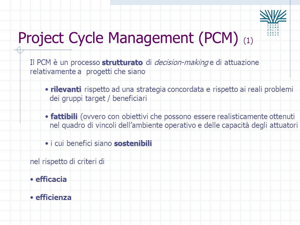 Project Cycle Management (PCM) (1) strutturato Il PCM è un processo strutturato di decision-making e di attuazione relativamente a progetti che siano