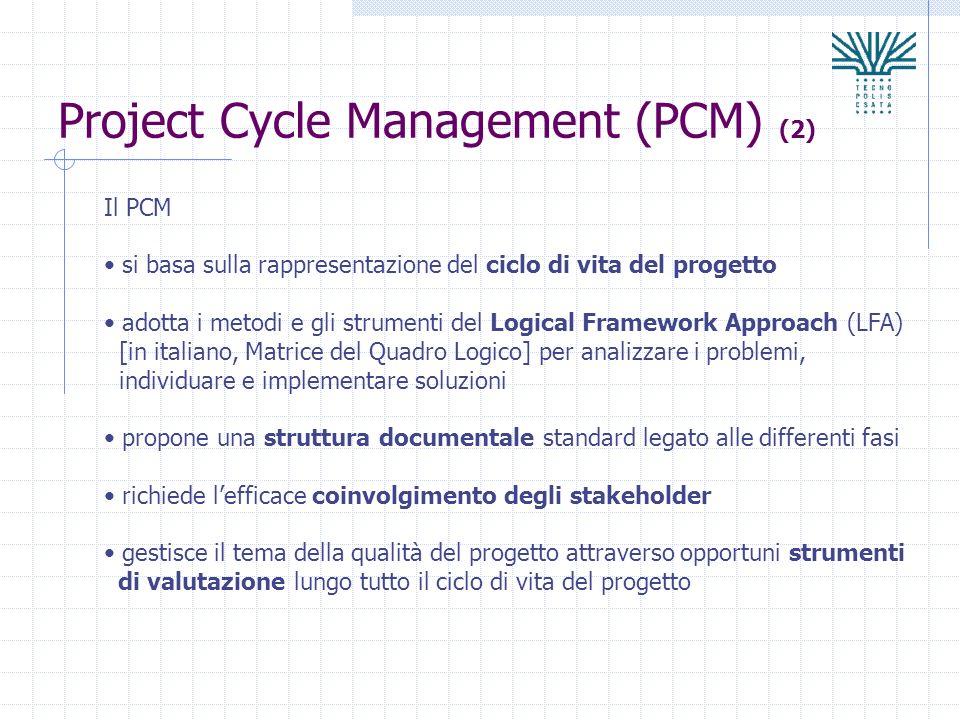 Project Cycle Management (PCM) (2) Il PCM si basa sulla rappresentazione del ciclo di vita del progetto adotta i metodi e gli strumenti del Logical Fr