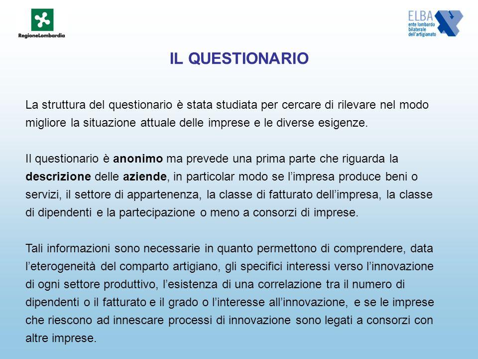 IL QUESTIONARIO La struttura del questionario è stata studiata per cercare di rilevare nel modo migliore la situazione attuale delle imprese e le diverse esigenze.