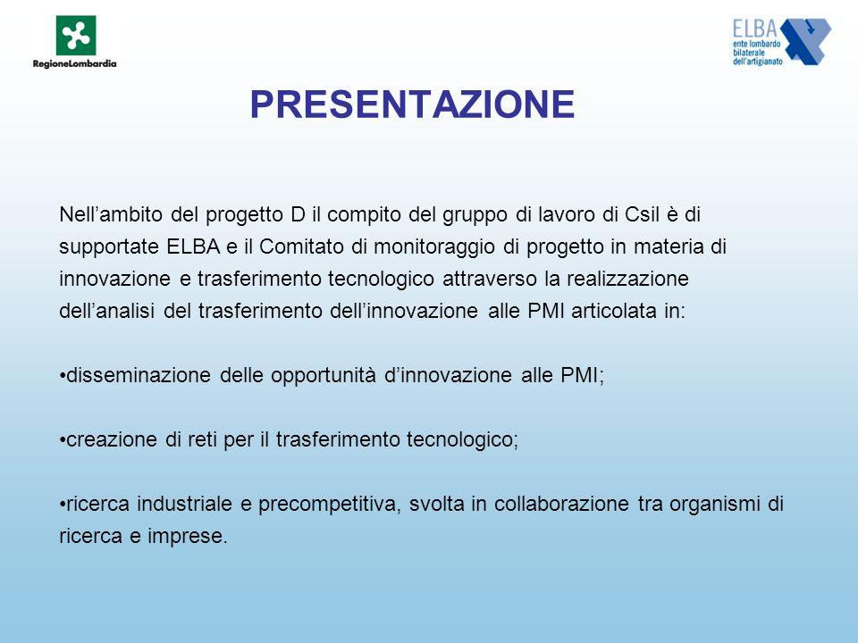 PRESENTAZIONE Nellambito del progetto D il compito del gruppo di lavoro di Csil è di supportate ELBA e il Comitato di monitoraggio di progetto in mate