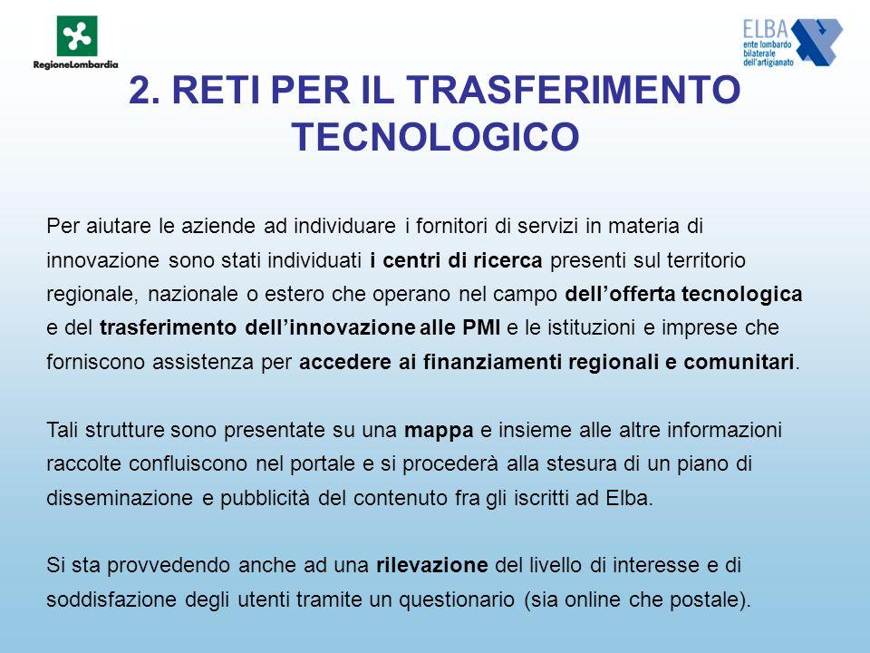 2. RETI PER IL TRASFERIMENTO TECNOLOGICO Per aiutare le aziende ad individuare i fornitori di servizi in materia di innovazione sono stati individuati