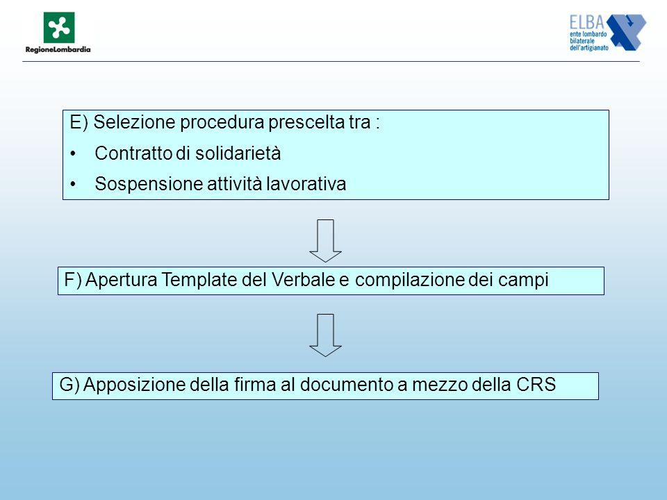 E) Selezione procedura prescelta tra : Contratto di solidarietà Sospensione attività lavorativa F) Apertura Template del Verbale e compilazione dei campi G) Apposizione della firma al documento a mezzo della CRS