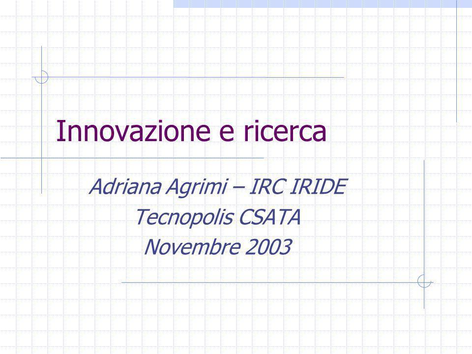 Innovazione e ricerca Adriana Agrimi – IRC IRIDE Tecnopolis CSATA Novembre 2003