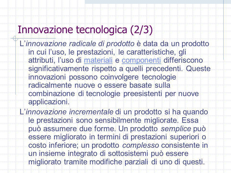 Innovazione tecnologica (2/3) Linnovazione radicale di prodotto è data da un prodotto in cui luso, le prestazioni, le caratteristiche, gli attributi, luso di materiali e componenti differiscono significativamente rispetto a quelli precedenti.