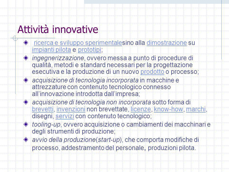 Attività innovative ricerca e sviluppo sperimentalesino alla dimostrazione su impianti pilota e prototipi; ricerca e sviluppo sperimentaledimostrazion