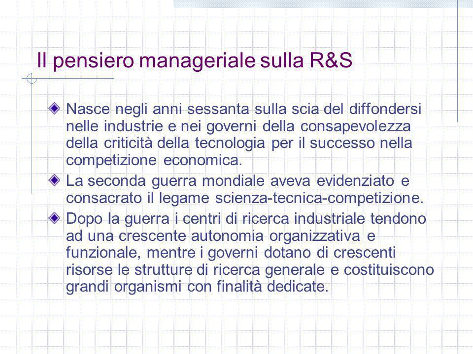 Il pensiero manageriale sulla R&S Nasce negli anni sessanta sulla scia del diffondersi nelle industrie e nei governi della consapevolezza della critic